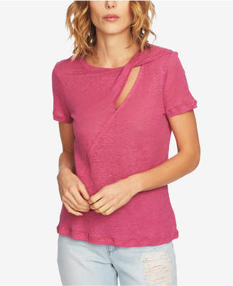 1 STATE 1.state Linen Cutout T-Shirt
