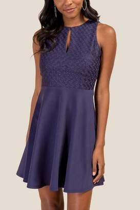 francesca's Leighton Brocade Combo Dress - Navy