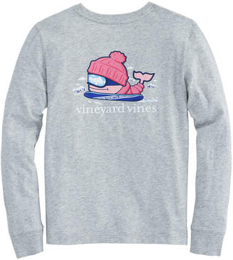 Vineyard Vines Girls Long-Sleeve Snowboarder Whale Pocket Tee