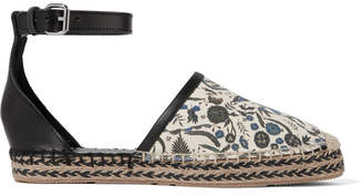 Isabel Marant Carlyce Printed Canvas And Leather Espadrilles - Ecru