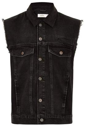 Topman Mens Black Acid Wash Denim Gilet