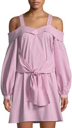 Laundry by Shelli Segal Cold-Shoulder Striped Shirtdress