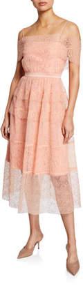 Three floor Girl Talk Embroidered Tulle Midi Dress