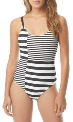 MICHAEL Michael Kors Stripe Group One-Piece Strappy Swimsuit