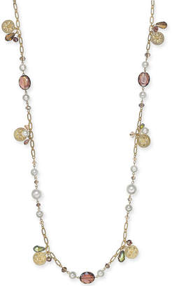 """Charter Club Gold-Tone Coin, Bead & Imitation Pearl Strand Necklace, 41"""" + 2"""" extender, Created for Macy's"""