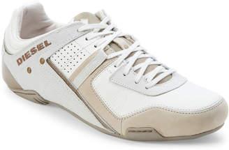 Diesel White & Grey Trackkers Korbin II Leather Sneakers