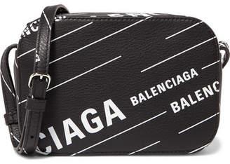 Balenciaga Everyday Xs Aj Printed Textured-leather Camera Bag - Black
