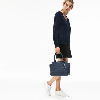 Lacoste Women's Daily Classic Gusseted Net Print Coated Pique Tote
