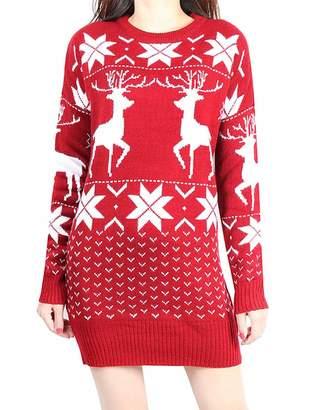 R & E XXXITICAT Women's Christmas Snowflake Wool Sweater Dress(RE)