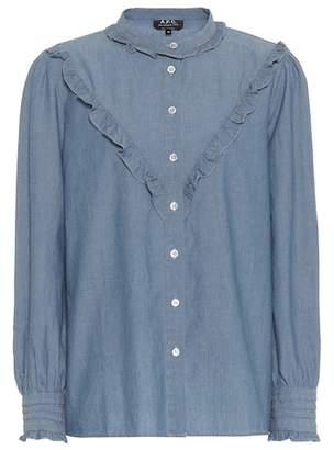 A.P.C. Ruffled chambray blouse