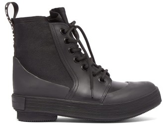 Proenza Schouler Lace Up Rubber And Canvas Boots - Womens - Black