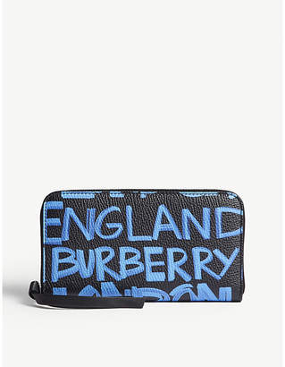 Burberry Blue and Black Graffiti Print Elmore Grained Leather Wallet