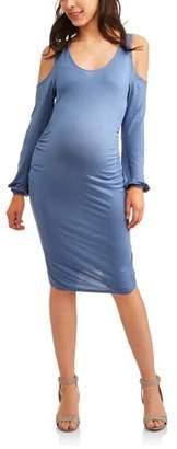Glamour Maternity Long Sleeve Cold Shoulder Dress