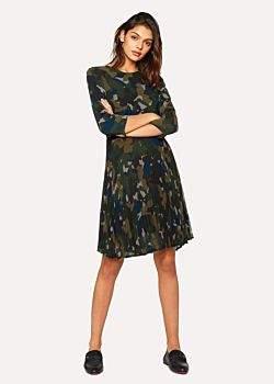 Paul Smith Women's Khaki Camouflage Dress With Pleated Skirt