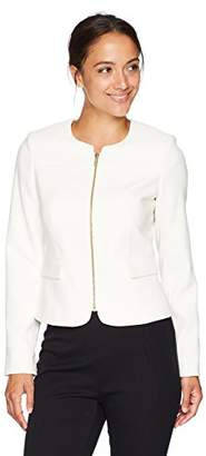 Calvin Klein Women's Petite Zipper Front Textured Jacket