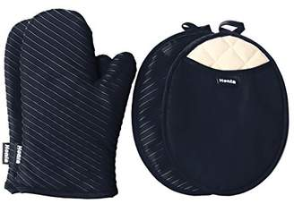 Honla Pot Holders and Oven Mitts/Gloves with Silicone Printed - 2 Hot Pads and 2 Potholders Set