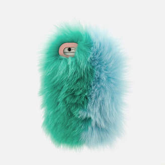 Charlotte Simone Women's Phone Fluff iPhone Case - Mint Green/Pastel Blue