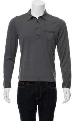 John Varvatos Woven Long Sleeve Polo Shirt