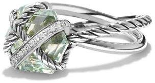 David Yurman Petite Cable Wrap Ring with Prasiolite and Diamonds
