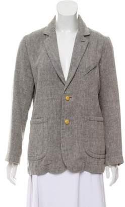 Folk Linen-Blend Button-Up Blazer