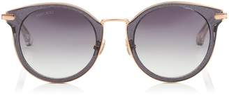 Jimmy Choo RAFFY Grey Glitter and Metal Round Framed Sunglasses