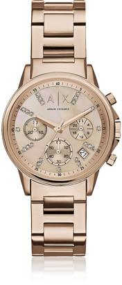 Armani Exchange Lady Banks Rose Tone Chronograph Women's Watch
