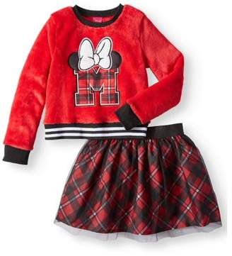 Minnie Mouse Varsity Plush Sweatshirt and Tulle Scooter, 2-Piece Outfit Set (Little Girls & Big Girls)
