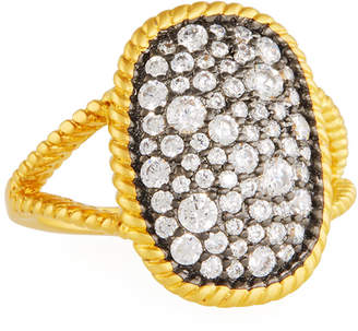 Freida Rothman Gilded Cable Large Pave Ring, Size 8