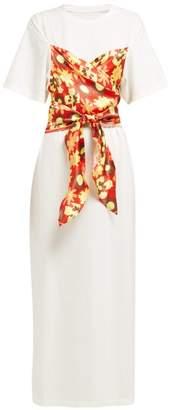 MM6 MAISON MARGIELA Floral Panel Cotton T Shirt Dress - Womens - White Multi
