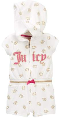 Juicy Couture Vanilla Glitter Crown Print Hooded Terry Romper (Baby Girls 12-24M)