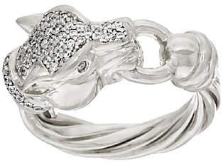 Diamonique Italian Silver Sterling Pave' DMQ PantherHead Ring