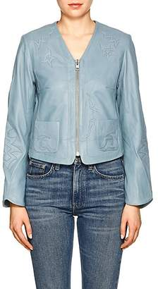 Zadig & Voltaire WOMEN'S VENCIA COLLARLESS LEATHER JACKET - TURQUOISE SIZE L