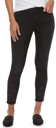 JLO by Jennifer Lopez Women's Embroidered MidRise Skinny Ankle Jeans