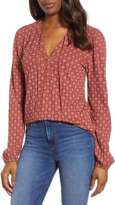 Lucky Brand Tie Peasant Blouse