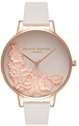 Olivia Burton Analog Bouquet Goldtone Leather Strap Watch