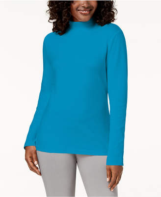 Karen Scott Cotton Mock-Neck Top