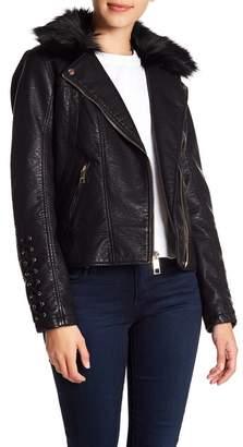 GUESS Faux Fur & Leather Moto Jacket