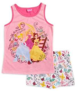AME Sleepwear Little Girl's & Girl's Two-Piece Disney Princess Top and Shorts Pajama Set