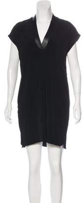 Vince Leather-Trimmed Shift Dress w/ Tags