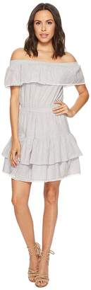 Romeo & Juliet Couture Off the Shoulder Striped and Ruffle Dress Women's Dress