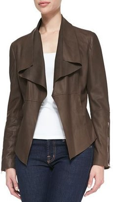 Neiman Marcus Leather Drape-Front Jacket $425 thestylecure.com