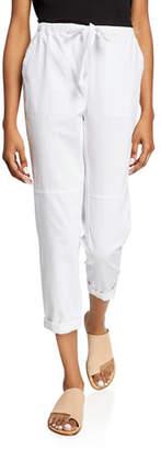 Eileen Fisher Petite Soft Organic Cotton Twill Drawstring Cropped Pants