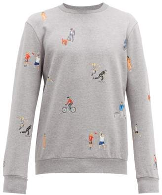 Character Print Embroidered Cotton Sweatshirt - Mens - Grey