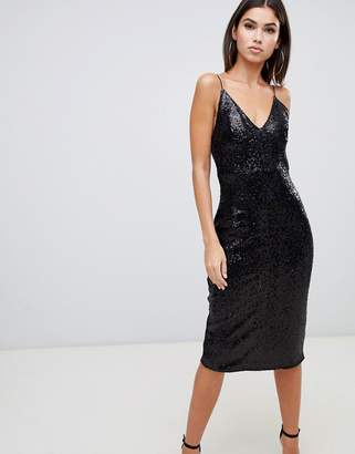 eb4ea03e834c Club L London sequin cami midi dress in black