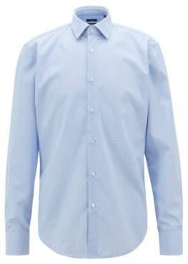 BOSS Hugo Regular-fit shirt in easy-iron dobby cotton poplin 15.5 Light Blue