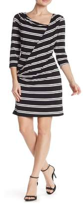 Papillon Drape Front Striped Dress