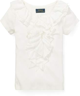 Ralph Lauren Ruffled Chiffon Cotton T-Shirt