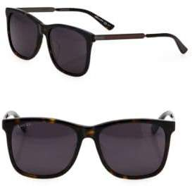 Gucci 56MM Web Detailed Square Sunglasses