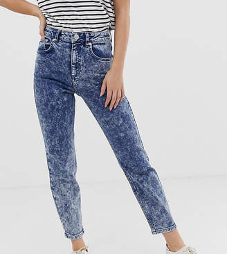 Asos DESIGN Petite Recycled Farleigh high waisted slim mom jeans in bright blue grainy acid wash
