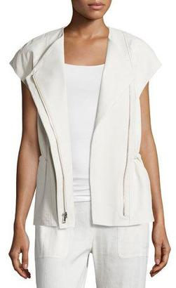 Vince Cap-Sleeve Leather Zip Jacket $865 thestylecure.com